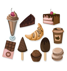 Delicious dessert chocolate cakes and croissant vector