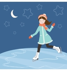 Figure skating at night vector