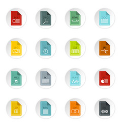 file format icons set flat style vector image