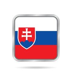 Flag of slovakia shiny metallic square button vector