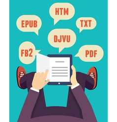 Flat mobile reader with different formats vector