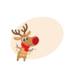 Funny christmas reindeer in red scarf holding a vector