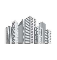 Gray buildings and city scene line sticker vector