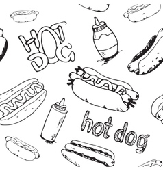 Hot dogs seamless pattern vector