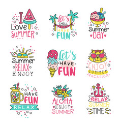 i love summer cute labels set relax summer time vector image