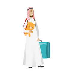 Man traveling with old suitcase and teddy bear vector