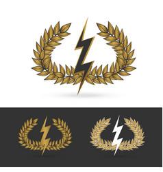 Olive branch with thunder symbol of greek god zeus vector