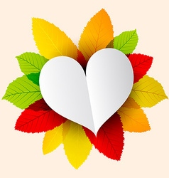 Paper Heart on Colorful Leaves vector image vector image
