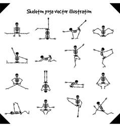 Skeletons in yoga poses vector
