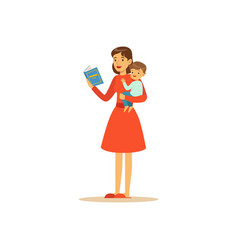 super mom character with child reading book vector image