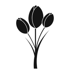 Tulips icon simple style vector