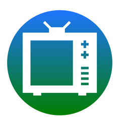 Tv sign white icon in bluish vector