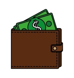 wallet with dollars icon vector image