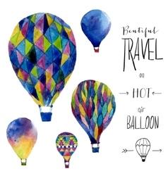 Watercolor card with hot air balloon Hand drawn vector image