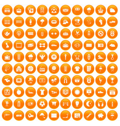 100 soccer icons set orange vector image vector image