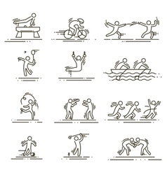 Sports thin line icons set pictograms vector
