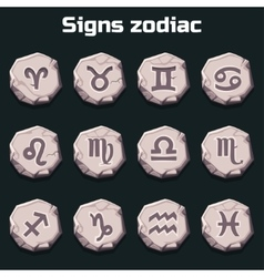 Signs of the zodiac on the old stones vector