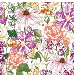 Hand drawn seamless floral pattern vector