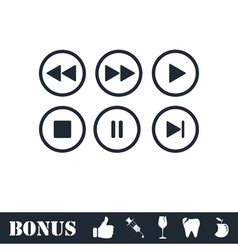 Video Audio Player buttons icon flat vector image