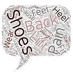 Shoes and back pain text background wordcloud vector