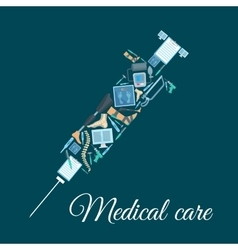 Medical icons shaped as syringe vector image