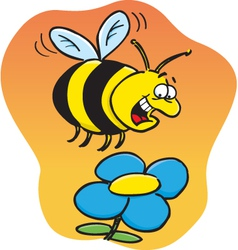 Cartoon Bee with a Flower vector image