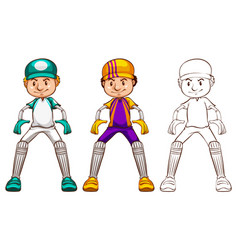 Cricket player in three different drawing styles vector