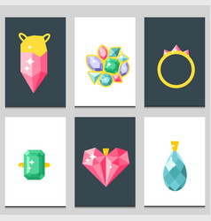Jewelry items gold cards elegance gemstones vector