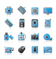 Computer part icons vector