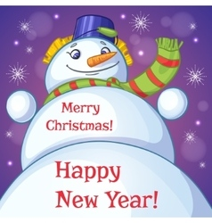 Christmas card with snowman and holiday greetings vector