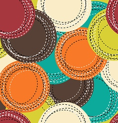 Colorful seamless pattern with sewing round shapes vector image