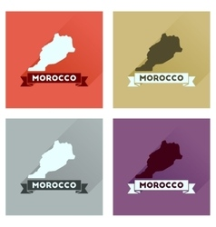 Concept flat icons with long shadow morocco map vector