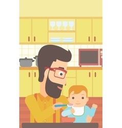 Man feeding baby vector