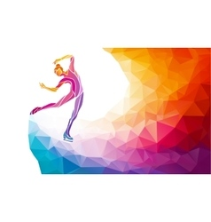 Creative silhouette of ice skating girl on vector