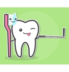 Tooth and toothbrush makes selfie vector