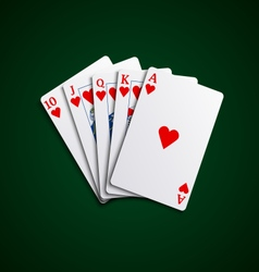 Pocker cards flush hearts hand vector