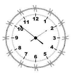 barbed wire clock vector image vector image