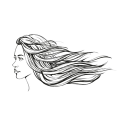 beautiful woman face hand drawn vector image vector image