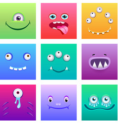 cartoon monsters faces with emotions set vector image