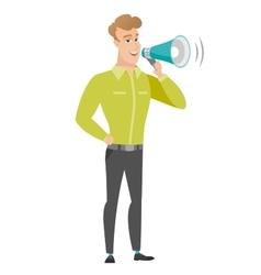 Caucasian businessman talking into loudspeaker vector image