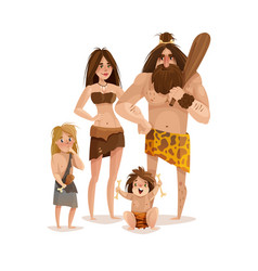 caveman family design concept vector image vector image