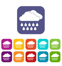Cloud and rain icons set vector