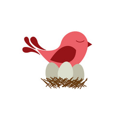 Colorful silhouette of bird in nest with eggs vector