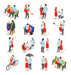 dating isometric icons vector image