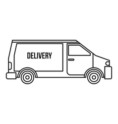 Delivery van icon outline style vector