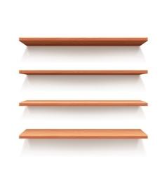 Empty wall book shelf wood shelves vector image vector image