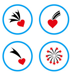 Falling heart rounded icons vector