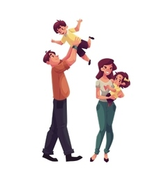 Father mother daughter and son happy family vector