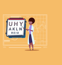 Female african american doctor ophthalmologist vector
