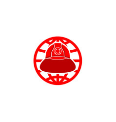 Firefighter helmet world logo vector